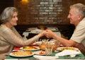 Dinner at restaurant senior couple having a Stock Photo