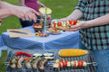 Dinner served a barbeque with tasty freshly grilled food Royalty Free Stock Photo