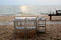 Dinner setup on the beach romantic Royalty Free Stock Image