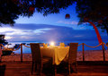 Dinner on sunset at beach in bali indonesia Royalty Free Stock Photography