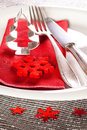 Dinner table setting decorated christmas on silver background Stock Images