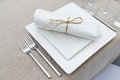 Dinner time table set for fine dining or another catered event Stock Photos