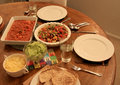 Dinner for two - salsa salad with taco mix guacamole and cheese Royalty Free Stock Photo