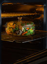 Dinner view of pot filled with vegetables ready to be cooked Royalty Free Stock Images