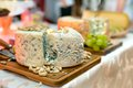 Dinner with wine exquisite cheese traditional food meat products Royalty Free Stock Images