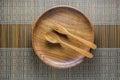 Dinning plate utensil set up on a green weaved bamboo mat Stock Photography