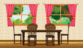 A dinning table and chairs illustration of in room Royalty Free Stock Images