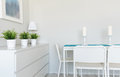 Dinning table in contemporary room Royalty Free Stock Photo