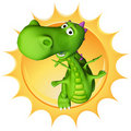 Dino baby dragon the sun Stock Photo