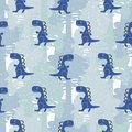 Dino blue color boy seamless vector pattern. Royalty Free Stock Photo