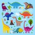 Dino cartoon set Royalty Free Stock Photo
