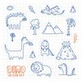 Dino ink doodles cartoon vector set