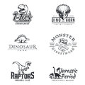 Dino logo set. Dinosaur logotype. Raptor sport mascot design. Vector T-rex label template. Jurassic period illustration
