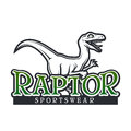 Dino Logo vector template. Raptor sport mascot logotype design. Vintage High School sport badge. Sportswear shop t-shirt Royalty Free Stock Photo