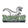 Dino Logo vector template. Raptor sport mascot logotype design. Vintage High School sport badge. Sportswear shop t-shirt
