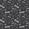 Dino Seamless Pattern, Cute Cartoon Hand Drawn Dinosaurs Doodles Vector Illustration