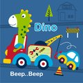 Dino and tow truck funny cartoon,vector illustration
