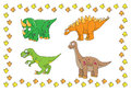 Dino young dinosaurs on a white background with traces Stock Image