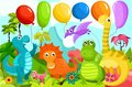 Dinos vector cute illustration with colorful Royalty Free Stock Photos