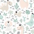 Dinosaur baby girl seamless pattern. Sweet dino princess with crown. Scandinavian cute print.