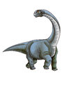 Dinosaur camarasaurus a fierce is walking Stock Photos