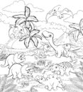 Dinosaur Cartoon Prehistoric Landscape Scene Royalty Free Stock Photo