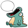 Dinosaur cartoon with speech balloon vector illustration of Stock Photo