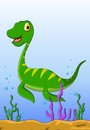 Dinosaur cartoon on the water vetor illustration of Stock Photo