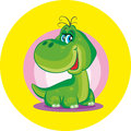 Dinosaur cute little dragon on a colored background Royalty Free Stock Photos