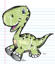 Dinosaur Doodle Color Sketch Vector Royalty Free Stock Photos