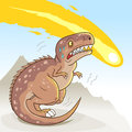 Dinosaur extinction cartoon tyrannosaurus scared of the falling apocalyptic meteorite the reason for the of the dinosaurs concept Stock Photography
