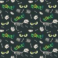 Dinosaur Fossil Bones and Scary Eyes Seamless Pattern Dark Background Vector Illustration