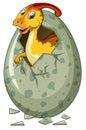 Dinosaur hatching egg on white background