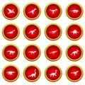 Dinosaur icon red circle set