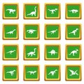Dinosaur icons set green
