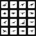 Dinosaur icons set squares vector