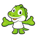 Dinosaur mascot the direction of pointing with both hands anima animal character design series Stock Image