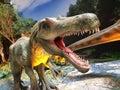 Dinosaur meeting dinosaurs with sharp teeth Stock Photo
