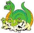 Dinosaur mom with cute babies Stock Photo