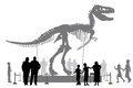 Dinosaur museum editable vector silhouettes of people looking at a tyrannosaurus rex skeleton in a Royalty Free Stock Photography