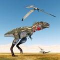 Dinosaur Nanotyrannus and Pterosaur Pteranodon Royalty Free Stock Photo