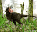 Dinosaur Ornitholestes In Swamp Forest Royalty Free Stock Photo