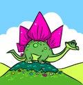 Dinosaur  parody Stegosaurus cartoon illustration Royalty Free Stock Photo