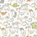 Dinosaur pattern seamless of stylized dinosaurs Royalty Free Stock Photos