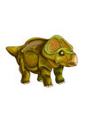 Dinosaur protoceratops a dark green is standing Royalty Free Stock Photography