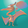 Dinosaur pteranodon with text bubble speech Stock Image