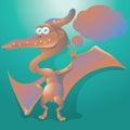 Dinosaur pteranodon with text bubble Royalty Free Stock Photo