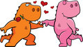 Dinosaur Romance Stock Photo