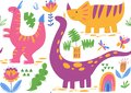 Vector seamless pattern with cute dinosaur characters Royalty Free Stock Photo