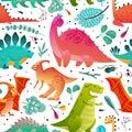 Dinosaur seamless pattern. Dino textile print dragon funny monsters cute animals kids wallpaper color dinosaurs cartoon